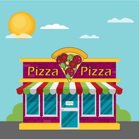 Facade of pizzeria flat vector.