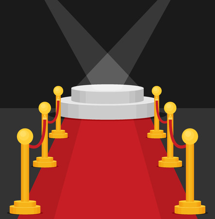 A stage with a red carpet illustration. Flat vector.
