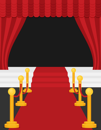A stage with a red carpet illustration. Flat vector. Illustration
