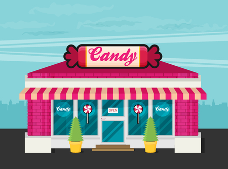 Facade of candy shop flat vector. Иллюстрация
