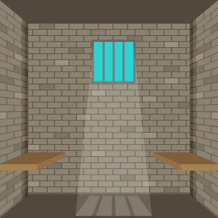 gaol: Scene with prison room. Flat illustration