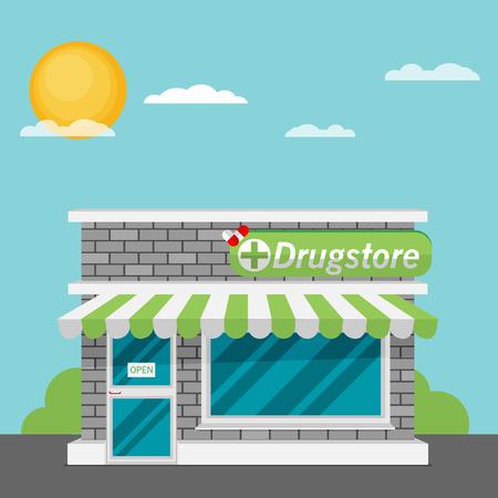 Facade of pharmacy store flat vector.