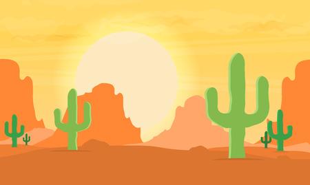 Western desert landscape at sunset vector illustration.