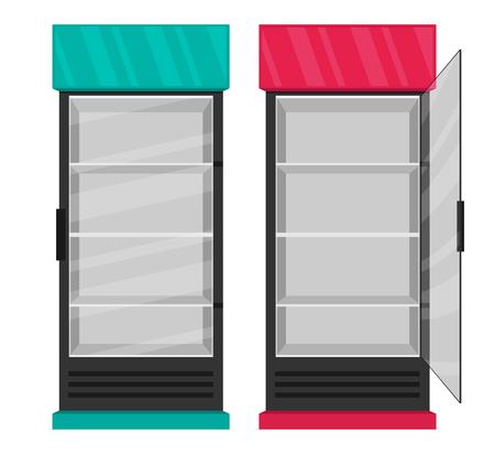 Supermarket refrigerator set. Flat vector Illustration