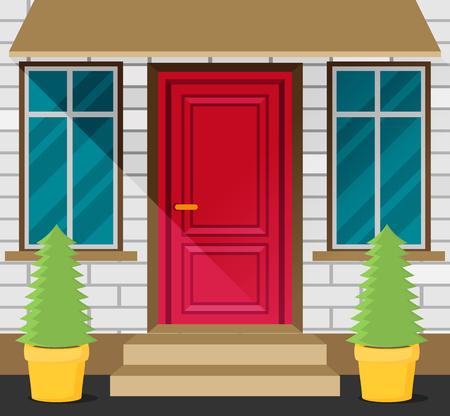 Front Door House Exterior flat vector Illustration