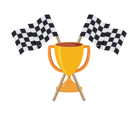 Two crossed checkered racing flags in flat style. Vector illustration.