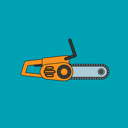 Chainsaw icon in flat style vector