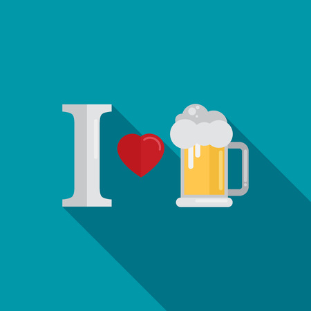 I love beer. Vector illustration. Flat design style