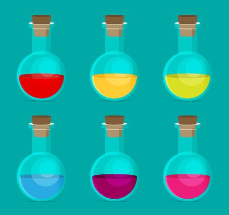 poison bottle: Flat Chemical Icon with background vector