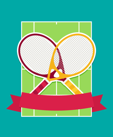 Vector tennis rackets and cord flat Illustration