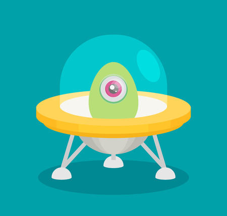 unidentified flying object: Spaceship, flat vector isolated on color background