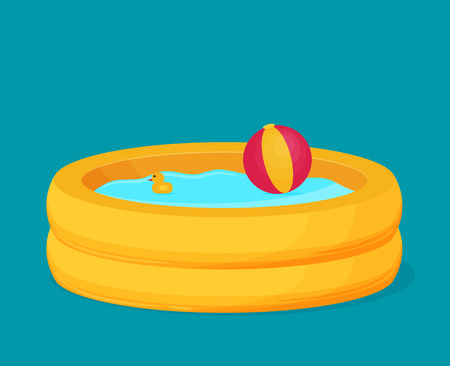 rubber tube: Inflatable Pool vector. Flat design.