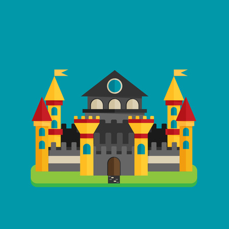 Magical fabulous cartoon castle. Vector flat illustrations