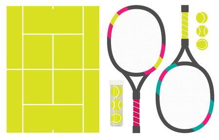 Vector set of tennis rackets, cord and tennis balls Çizim