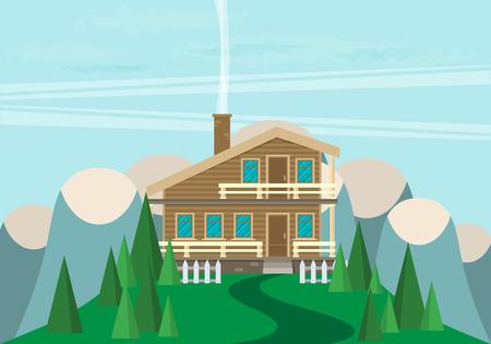 investment real state: Casa. Estilo plano Montañas y árboles