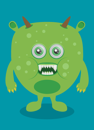 Cartoon monster in flat style. Happy halloween vector.