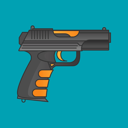 Flat vector gun icon isolated on color background