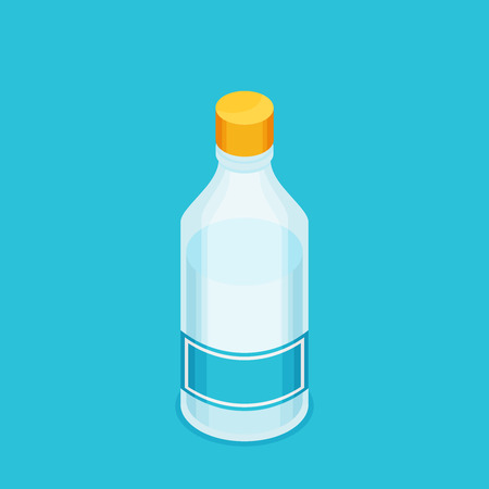bottled: Bottle of water icon in flat isometric style Illustration