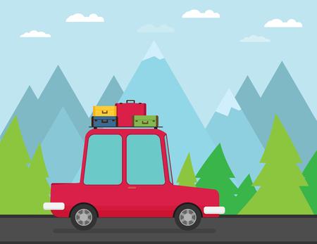 Travel car. Vector illustration.