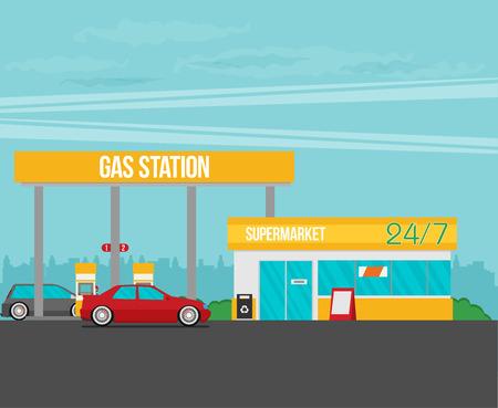 dashboard: Gas station vector illustration