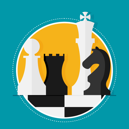 tactics: Flat design modern vector illustration concept of business strategy with chess figures on a chess board. Illustration