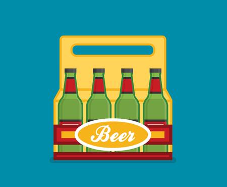Pack of beer bottles flat style icon. Vector illustration. Illustration