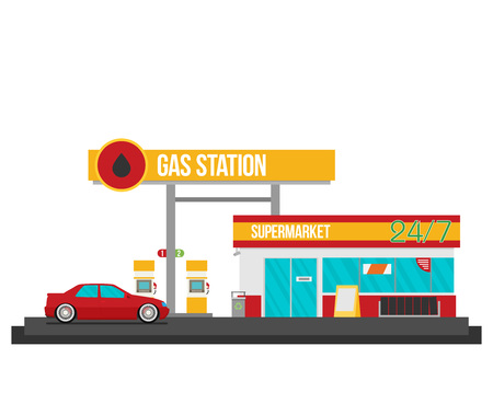 automotive industry: Gas station vector illustration