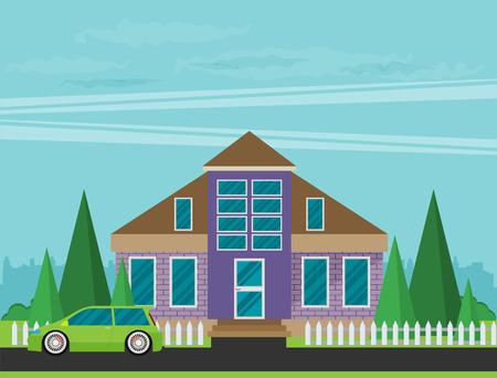 Flat Residential House. Vector illustration.