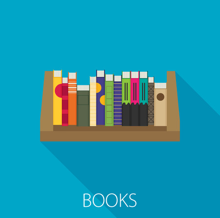 Flat bookshelf. Vector illustration. Modern design