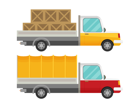 wood crate: Delivery truck with wooden boxes and truck with tent. Flat vector set Illustration