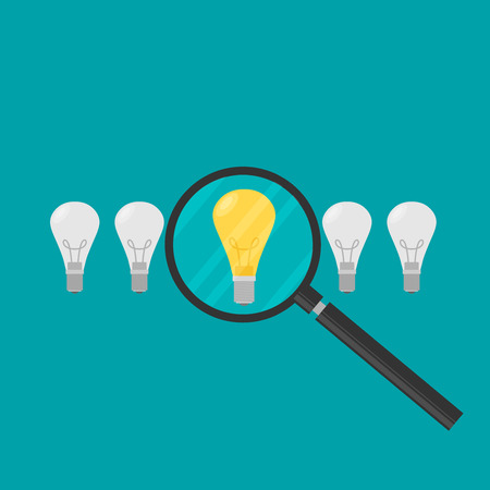 Vector concept in flat stye - searching for idea - lightbulbs and hand with magnifier