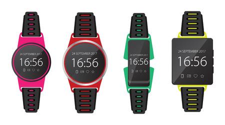 Smartwatch wearable technology. Flat icon set. EPS10