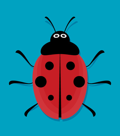 Cute ladybug. Flat vector. Illustration
