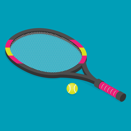 Vector isometric set of tennis racket and tennis ball