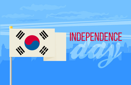 The flat design of the flag on the flagpole. Independence Day. Flag of the Republic of Korea Illustration