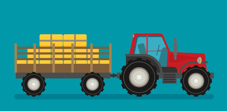 Flat  tractor with semi-trailer icon isolated