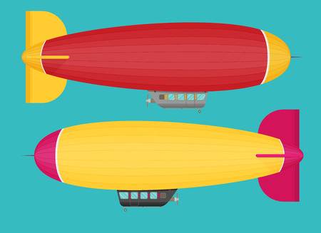 Zeppelin airship set dirigible balloon flight, flat design Illustration