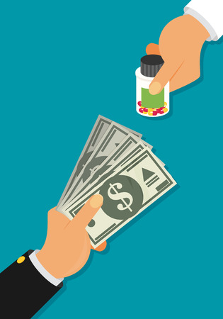 retail therapy: Buying medical pills pack for money bills concept. Hand giving money for medicine. Flat design