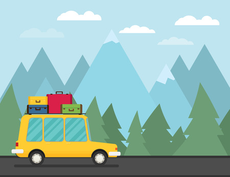 Travel car. Vector illustration.
