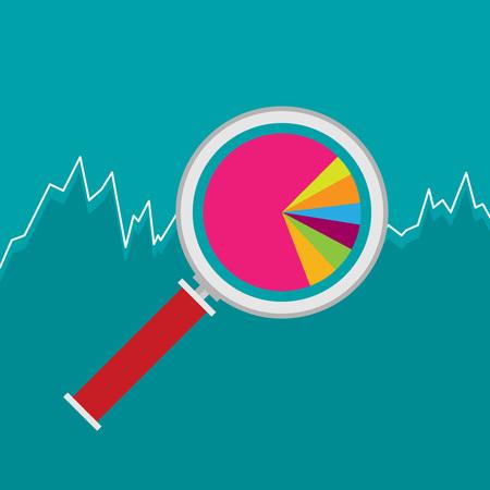 マーケティング データ分析、統計グラフ、株価グラフの数字付きの虫眼鏡を分析します。フラット アイコン モダンなデザイン スタイル ベクトル図