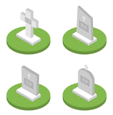 Vector illustration grey gravestone with cross on green grass. Flat isometric tombstone icon set