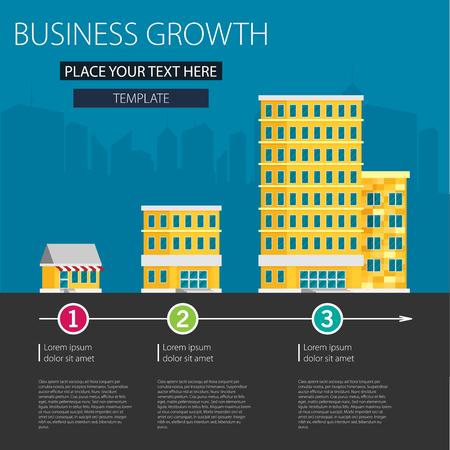 ビジネスの成長。小、中、大きな会社の建物。フラットのベクトル。  イラスト・ベクター素材