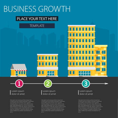 Growth of business. Buildings of company small, middle and big. Flat vector. Иллюстрация