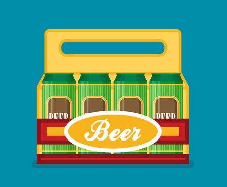 6 pack beer: Pack of beer cans flat style icon. Vector illustration. Illustration