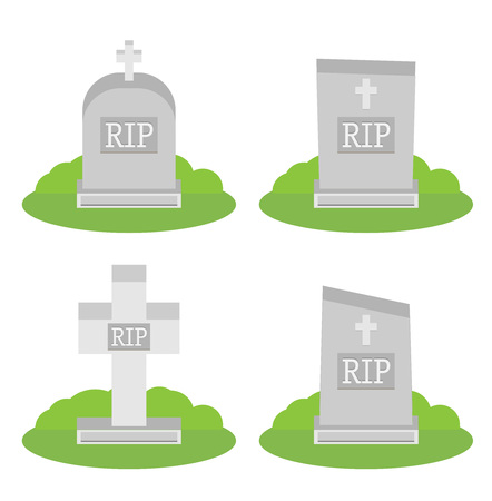 Vector illustration grey gravestone with cross on green grass. Flat tombstone icon set