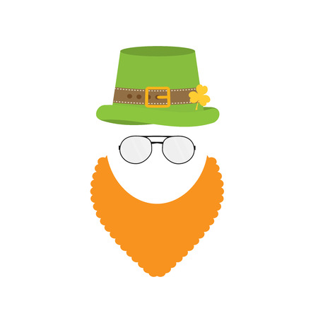 red clover: flat design icon on Saint Patricks Day character leprechaun with green hat, red beard, smoking pipe Illustration