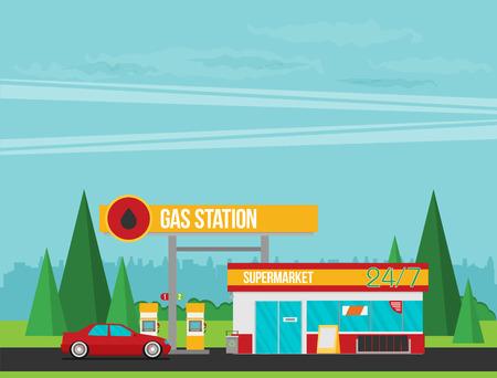 Gas station flat vector illustration