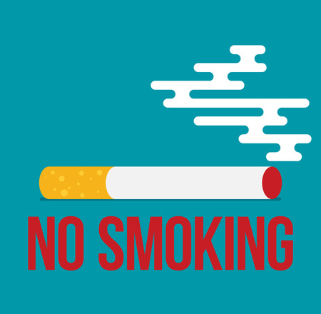 poison sign: Flat colored illustration with prohibition of Smoking nicotine cigarettes Illustration