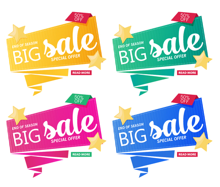 bright: Vector flat sale banner template design set