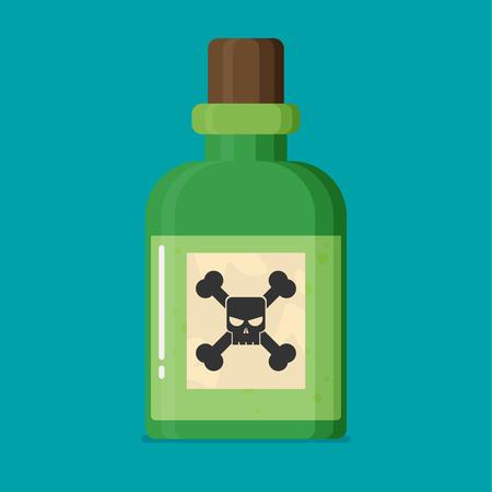 poison sign: Poison bottle flat vector icon